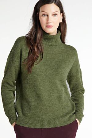 gemêleerde coltrui Femme Alpaca Roll Neck met wol groen