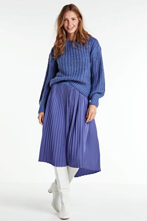 grofgebreide trui Celena Heidi grijsblauw