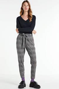MSCH Copenhagen geruite tapered fit pantalon Popye grijs, Grijs