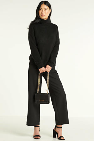 gemêleerde coltrui Femme Alpaca Roll Neck met wol zwart