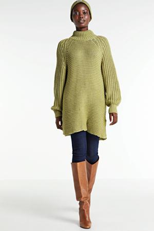 grofgebreide trui Ariella Long met textuur lichtgroen