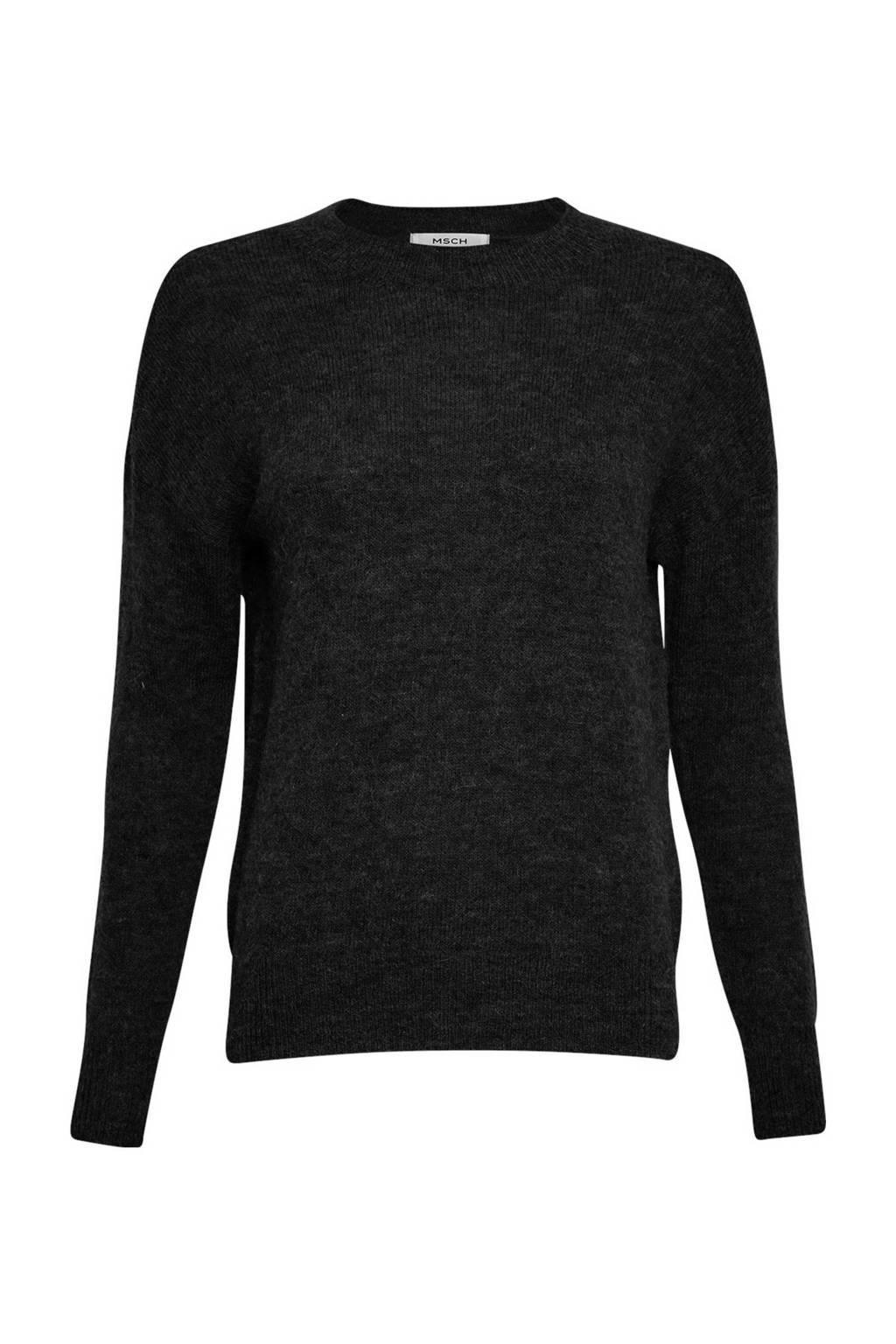 MSCH Copenhagen gemêleerde trui Femme Alpaca met wol zwart, Zwart