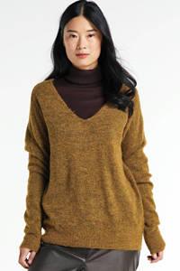 MSCH Copenhagen gemêleerde trui Femme Alpaca V Neck met wol geel, Bruin