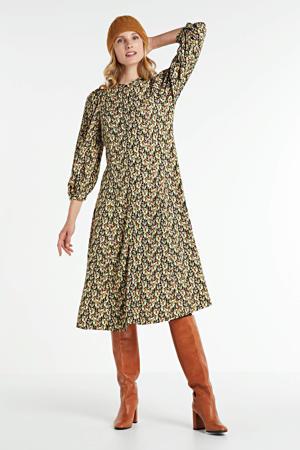 blousejurk Karola Raye met all over print en plooien groen