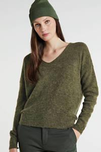 MSCH Copenhagen gemêleerde trui Femme Alpaca V Neck met wol geel, Groen
