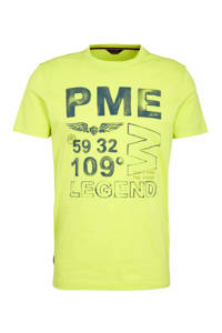 PME Legend T-shirt met printopdruk limegroen, Limegroen
