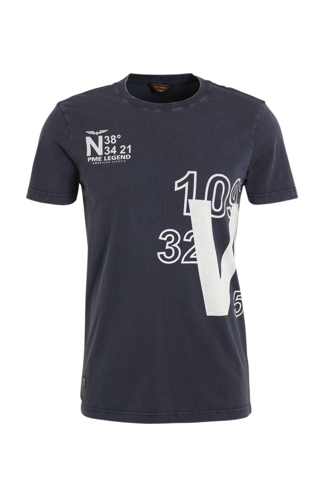 PME Legend T-shirt met printopdruk grijs, Grijs