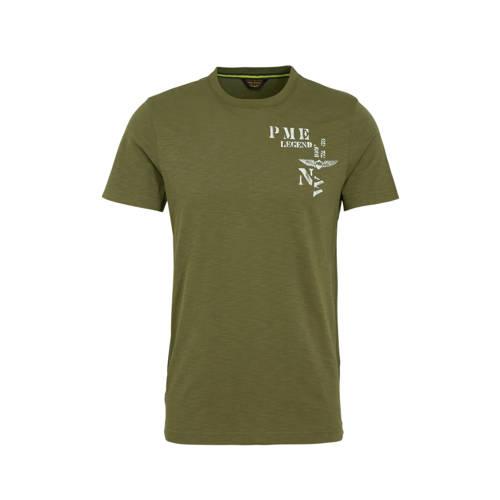 PME Legend T-shirt met printopdruk groen