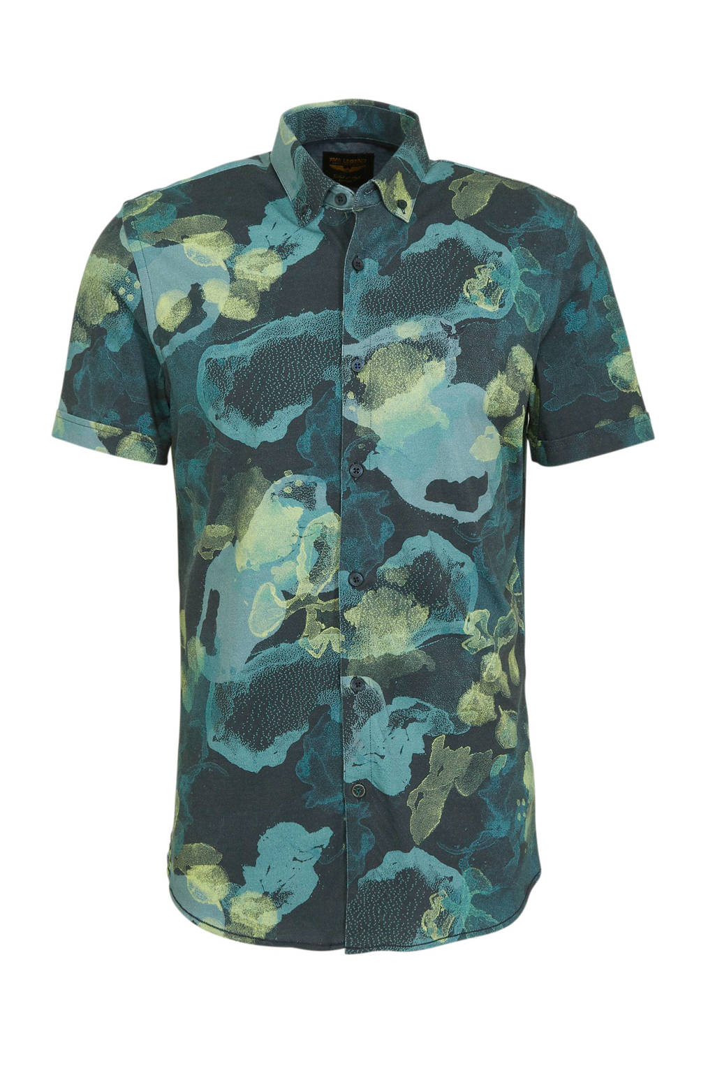 PME Legend slim fit overhemd met all over print blauw, Blauw