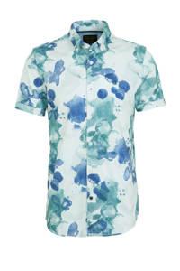 PME Legend slim fit overhemd met all over print lichtblauw, Lichtblauw