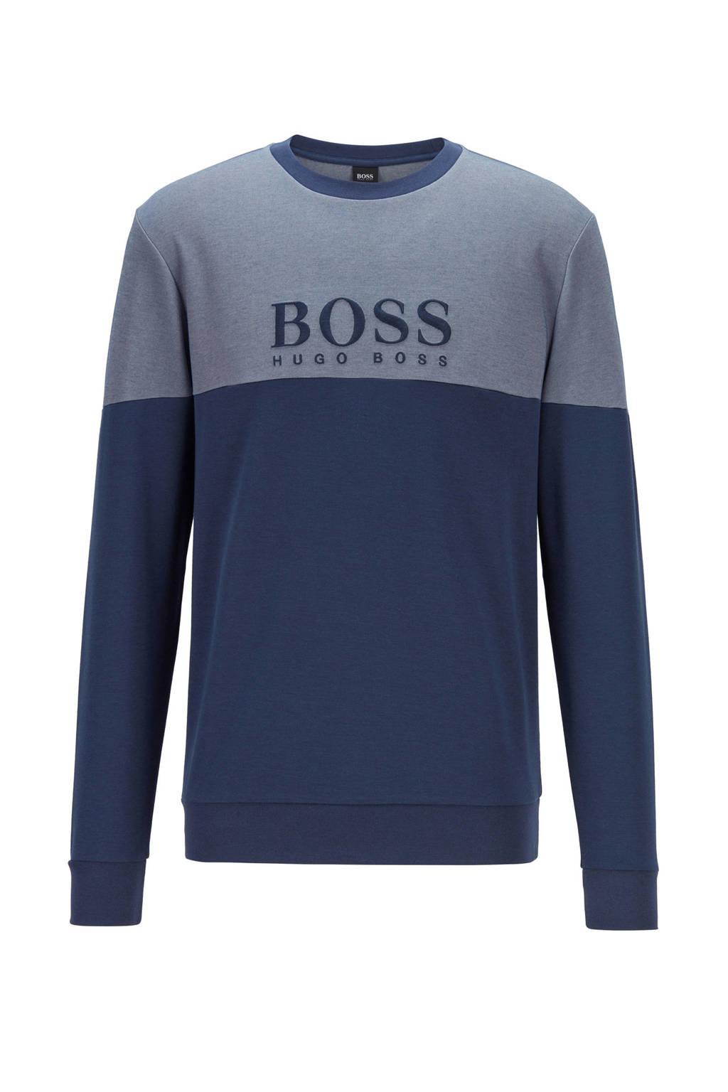 BOSS sweater met logo donkerblauw, Donkerblauw
