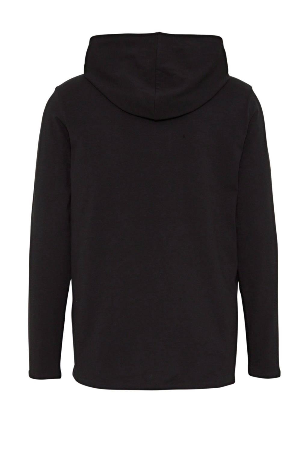 BOSS Bodywear longsleeve met capuchon en logo zwart, Zwart