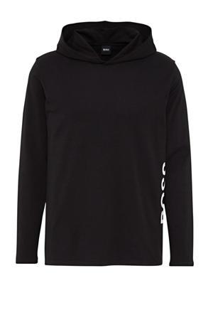 Bodywear longsleeve met capuchon en logo zwart