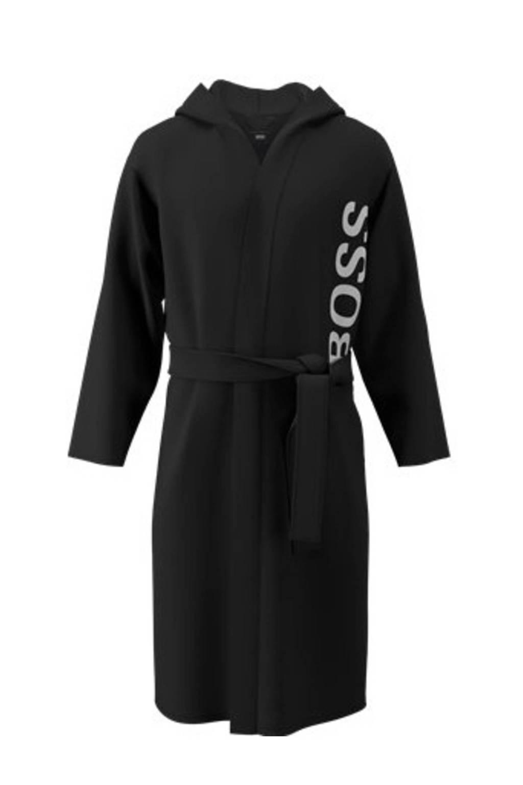 BOSS badjas met capuchon zwart, Zwart