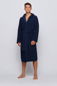 BOSS badstof badjas met capuchon donkerblauw, Donkerblauw