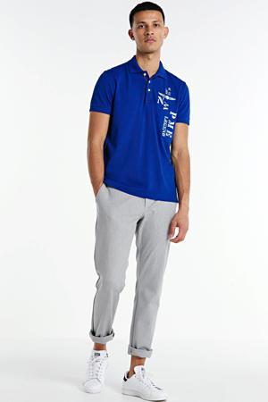 slim fit polo met printopdruk blauw