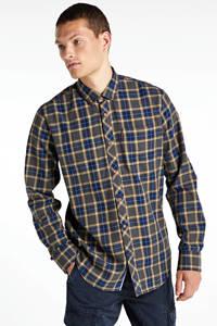 PME Legend geruit slim fit overhemd groen/oker, Groen/oker