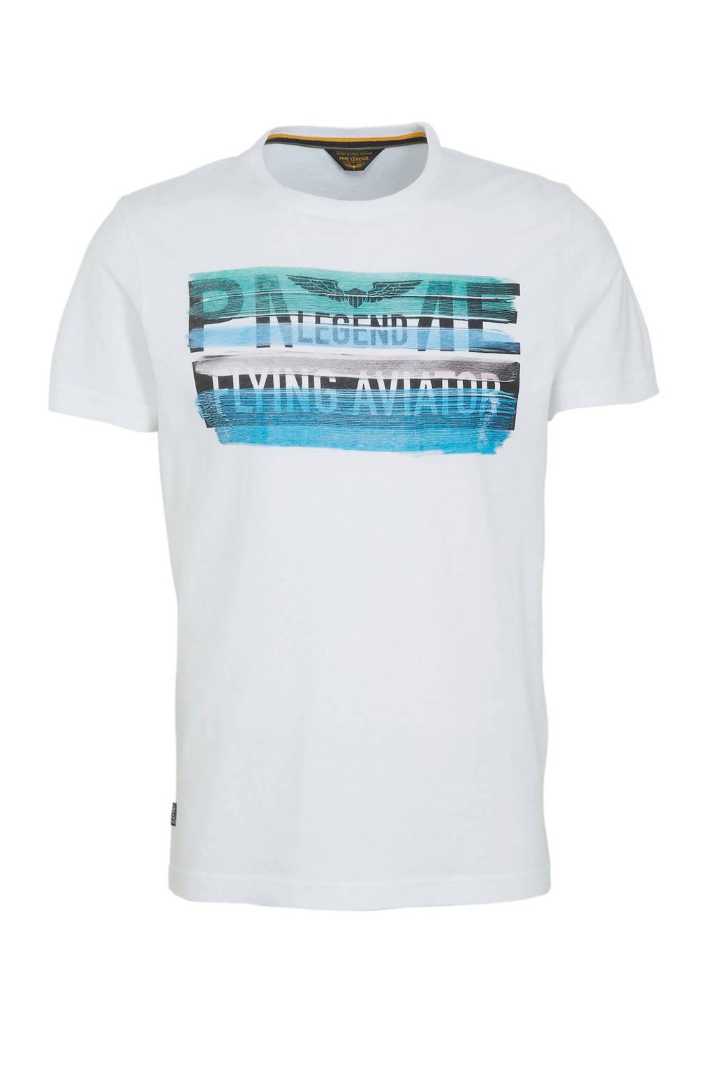 PME Legend T-shirt met printopdruk wit, Wit