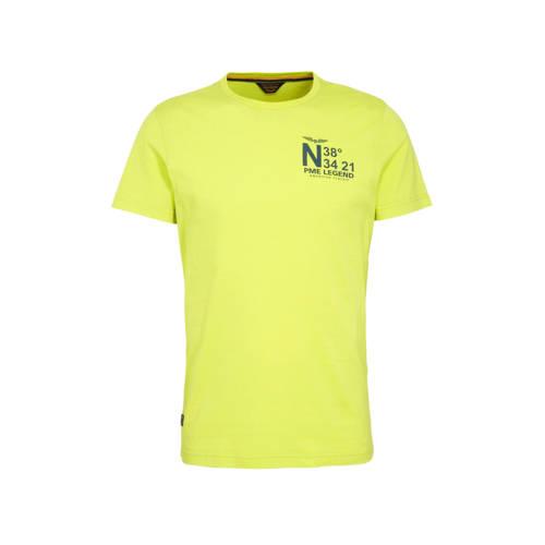PME Legend T-shirt met printopdruk geel