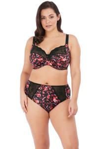 Elomi +size gebloemde beugelbh Morgan zwart/rood/roze, Zwart/rood/roze