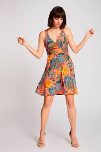 Morgan jurk met bladprint oranje/ geel, Oranje/ geel