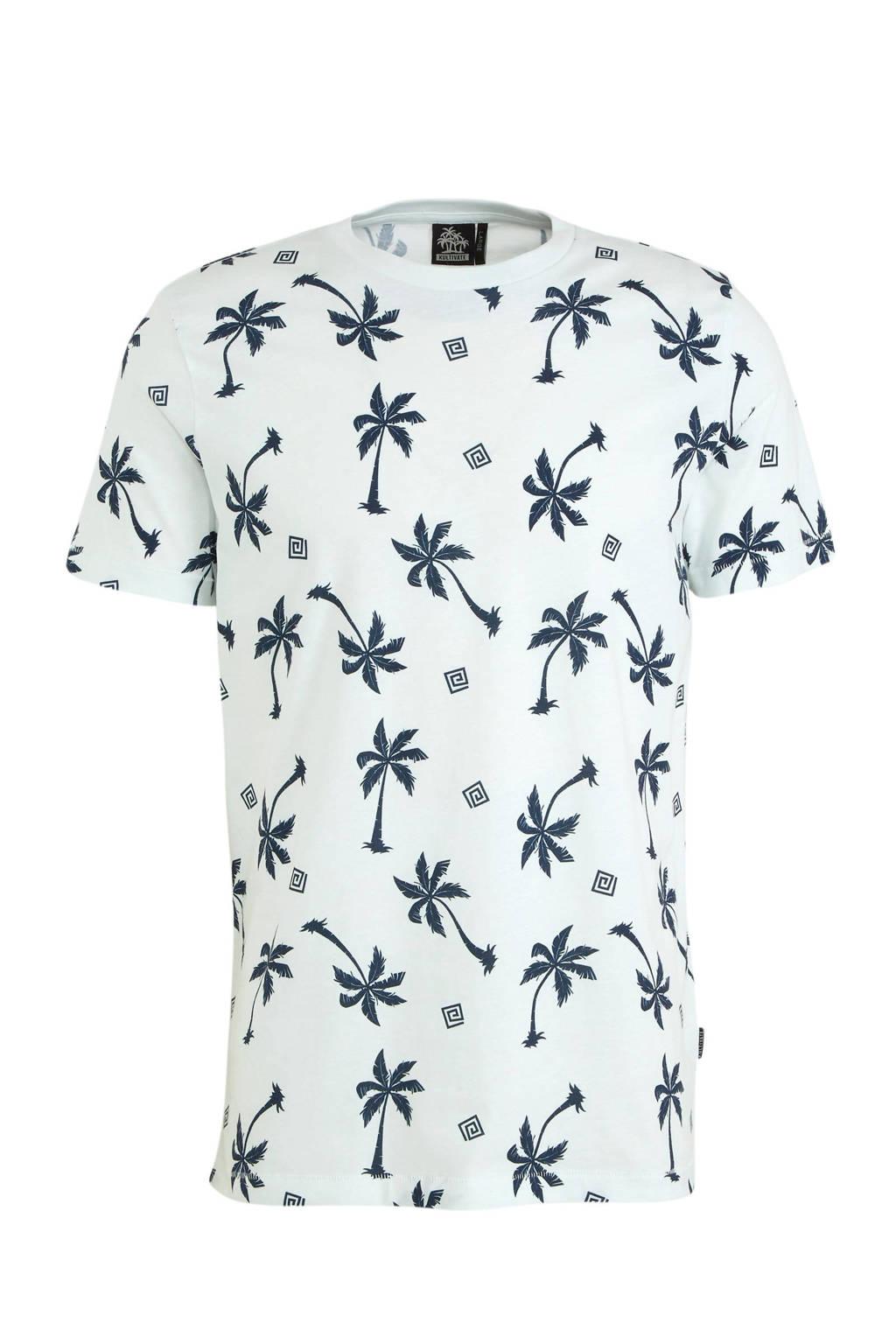 Kultivate T-shirt met all over print ecru, Ecru