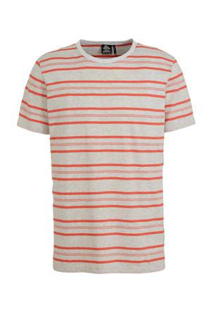 gestreept T-shirt roze/lichtgrijs