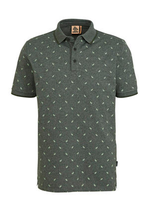 slim fit polo met all over print donkergroen