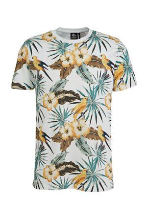 T-shirt met all over print ecru/groen/bruin