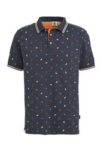 Kultivate slim fit polo met all over print donkerblauw, Donkerblauw