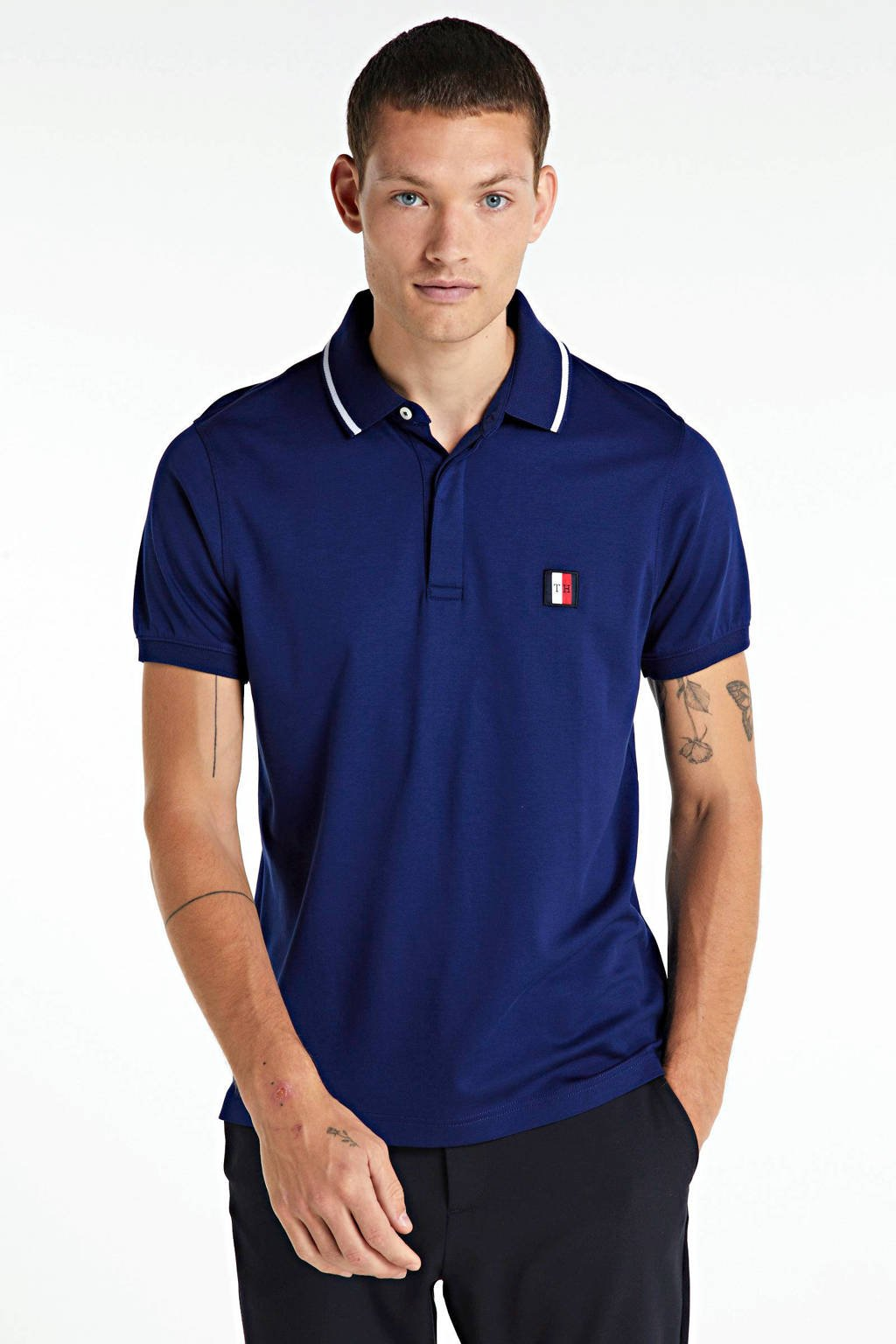 Tommy Hilfiger regular fit polo met all over print donkerblauw, Donkerblauw