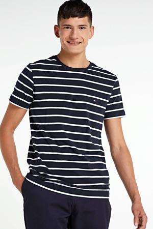 gestreept T-shirt met biologisch katoen donkerblauw