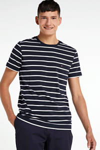 Tommy Hilfiger gestreept T-shirt met biologisch katoen donkerblauw, Donkerblauw