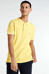 Tommy Hilfiger regular fit polo geel/wit, Geel/wit