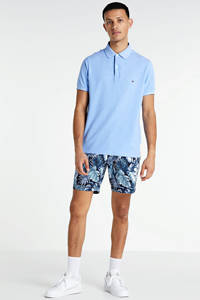 Tommy Hilfiger slim fit bermuda met all over print blauw/wit, Blauw/wit