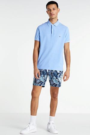 slim fit bermuda met all over print blauw/wit