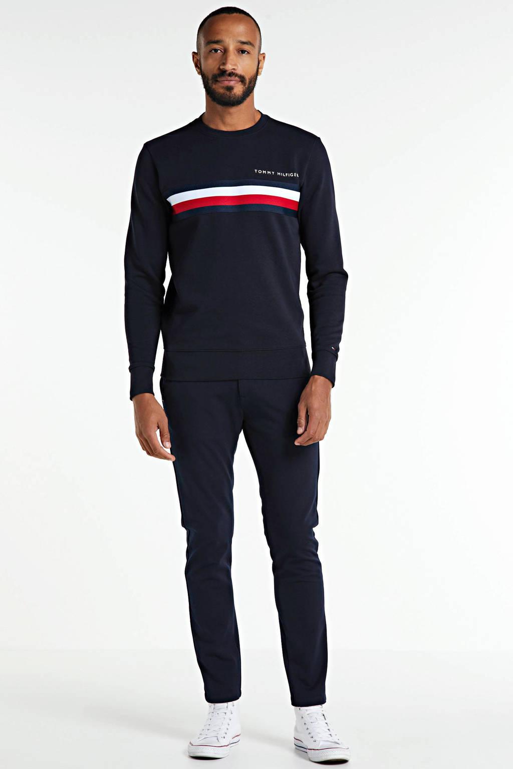 Tommy Hilfiger sweater met logo donkerblauw/wit/rood, Donkerblauw/wit/rood
