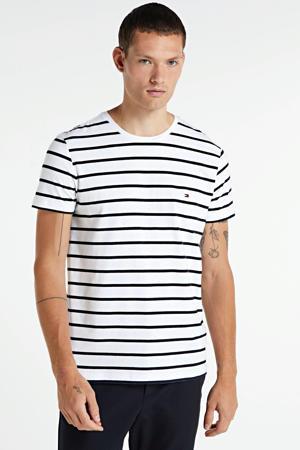 gestreept T-shirt met biologisch katoen wit