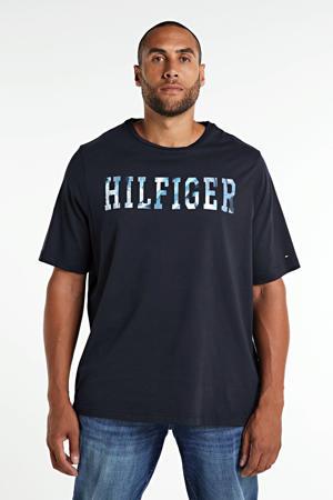 +size T-shirt van biologisch katoen donkerblauw