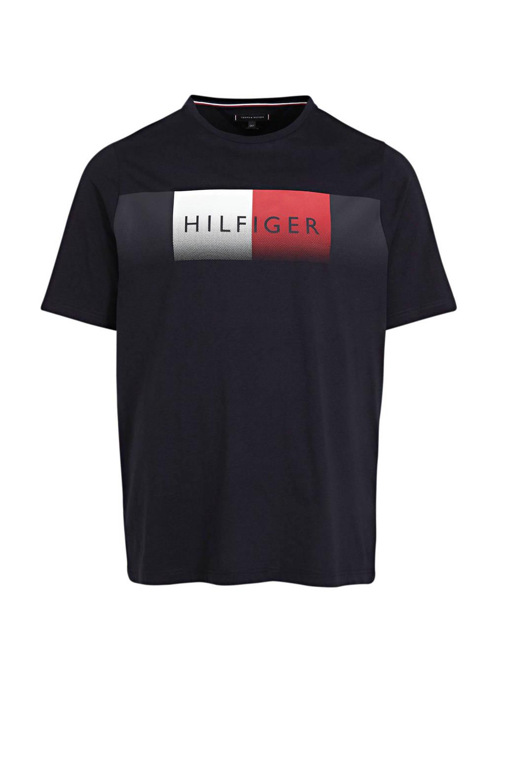 Tommy Hilfiger Big & Tall +size T-shirt van biologisch katoen donkerblauw, Donkerblauw