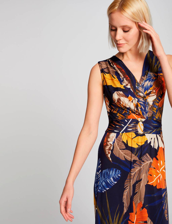 Morgan maxi jurk met bladprint donkerblauw, Donkerblauw