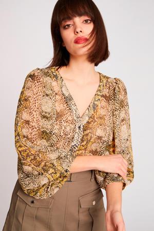 blouse met slangenprint bruin