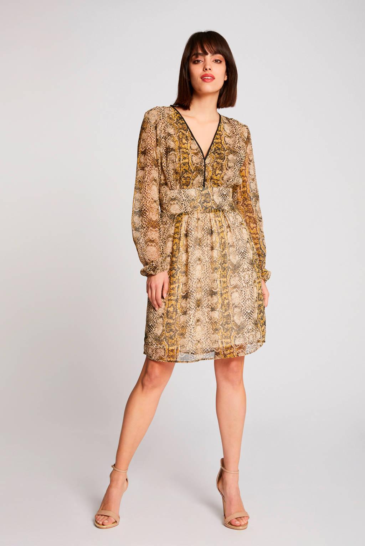 Morgan jurk met slangenprint beige, Beige