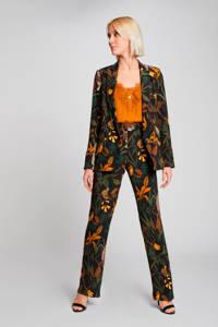 Morgan high waist straight fit broek met all over print zwart/multi, Zwart/multi
