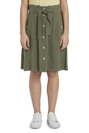 A-lijn rok met plooien groen