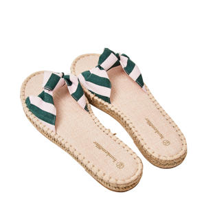 Printed Knot  slippers groen/wit