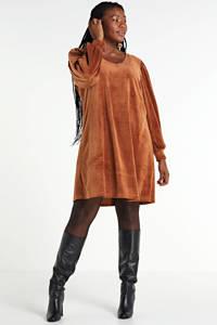 Zizzi fluwelen jurk met plooien bruin, Bruin