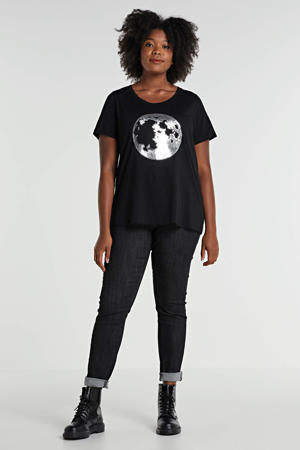 T-shirt met printopdruk en pailletten zwart/zilver