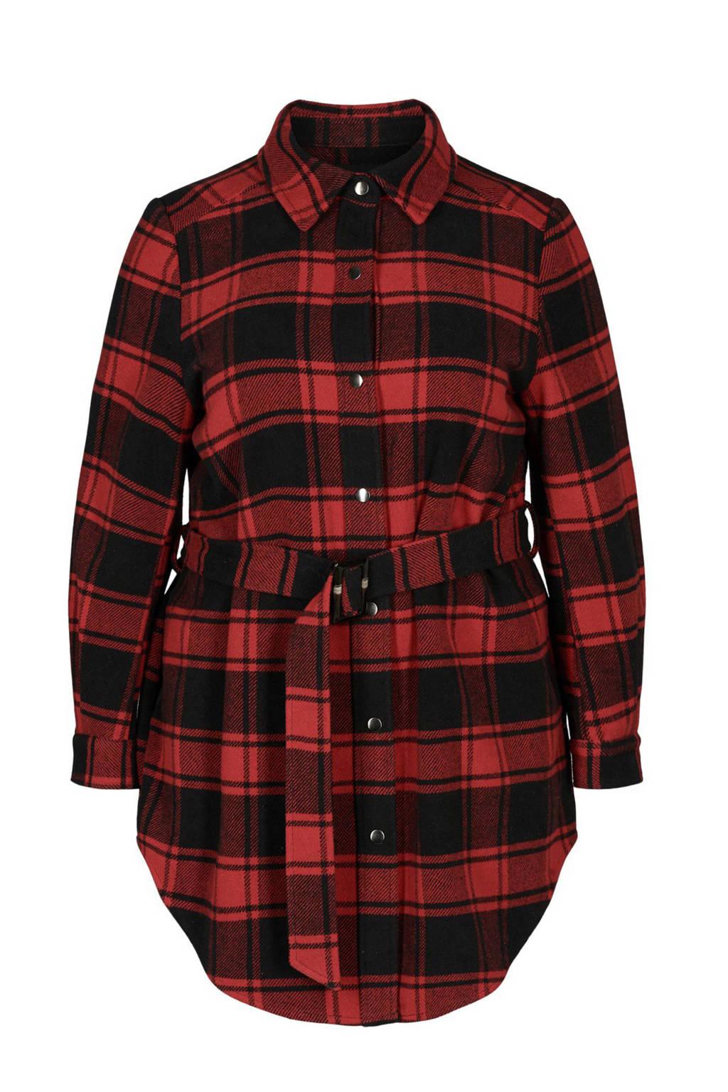 Zizzi geruit jasje rood/zwart, Rood/zwart