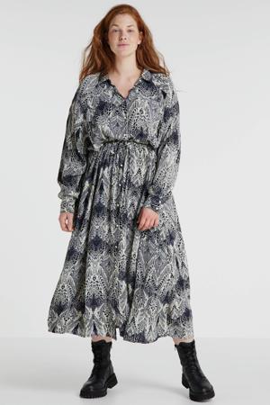 maxi blousejurk met all over print en plooien zwart/ecru